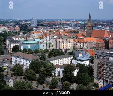 Panoramablick schlug Hannover Mit Leineschloss, Wangenheim-Palais, Laveshaus, Marktkirche Und Hotel Maritim - Stockfoto