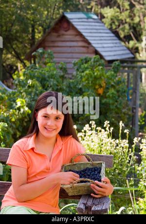 Hübsches junges Mädchen mit Ernte von Heidelbeeren in einem Korb - Stockfoto