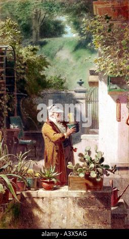"""""""Fine Arts, Spitzweg, Carl, (5.2.1808 - 23.9.1885), Malerei,""""Der Katkusliebhaber"""", ca. 1856, Öl auf Leinwand, private - Stockfoto"""