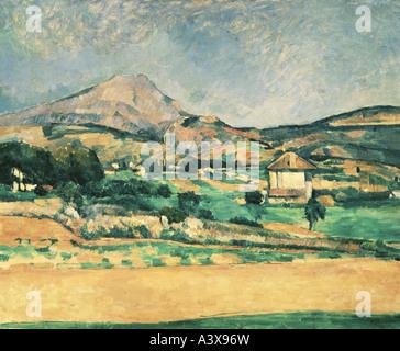 """""""Fine Arts, Cezanne, Paul, (1839-1906), Malerei,"""" La Montagne Sainte-Victoire """", (""""Blick auf Mont Sainte-Victoire""""), 1882 /"""