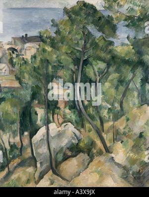 """""""Fine Arts, Cezanne, Paul, (1839-1906), Malerei,"""" Blick auf das Meer bei L 'Estaque"""", Landesgalerie, Karlsruhe, historisch, seine"""