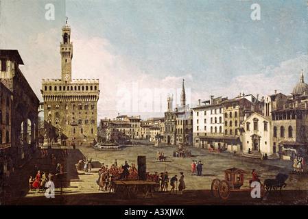 """""""Fine Arts, Bellotto, Bernardo genannt Canaletto, (1720-1780), Malerei,""""Piazza della Signoria in Florenz"""", ca. 1742, - Stockfoto"""