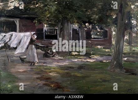 """""""Fine Arts, Liebermann, Max, (1847-1935), Malerei,""""Vor Dem Wäschehaus""""(""""bei dem Waschhaus""""), staatliches Museum - Stockfoto"""