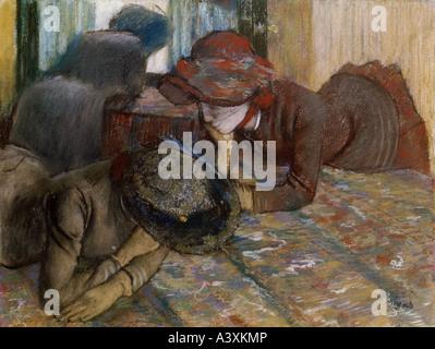"""""""Bildende Kunst, Degas, Edgar, (1834-1917), Malerei,""""Gespräch"""", Pastell auf Papier, National Gallery, London, historisch, Histor"""
