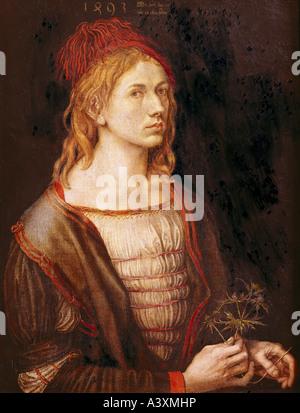"""Bildende Kunst, Dürer, Albrecht (1471-1528), Malerei,""Selbstbildnis Mit Distel"", (""Selbstbildnis mit Distel""), - Stockfoto"