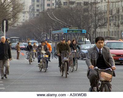 Beijing China Menschen pendeln zur Arbeit in den Morgen - Stockfoto