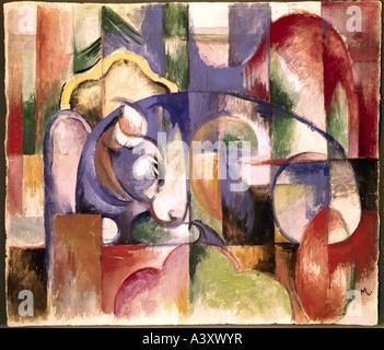 """""""Bildende Kunst, Marc, Franz, (1880-1916), Malerei,""""Liegender Stier"""", (""""liegender Stier""""), 1913, Museum Folkwang, Essen, historische,"""