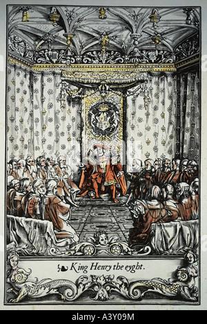 """""""Henry VIII, 28.6.1491 - 28.1.1547, König von England seit 22.4.1509 im Privy Council, Farbe Holzschnitt, letzte Seite""""Chronik"""" Stockfoto"""