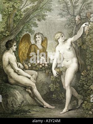 """""""Bildende Kunst, religiöse Kunst, 'Adam und Eva unterhaltsam Erzengel Gabriel', Gravur mit Aquatinta von Francesco - Stockfoto"""