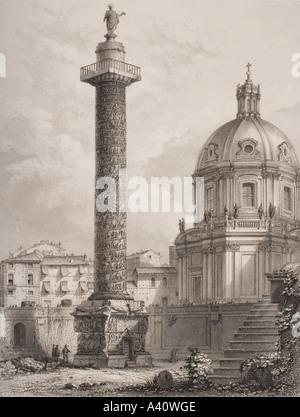 Die Trajan Spalte. Rom, Italien, nach Piranesi. Durch A. Willmore eingraviert. - Stockfoto