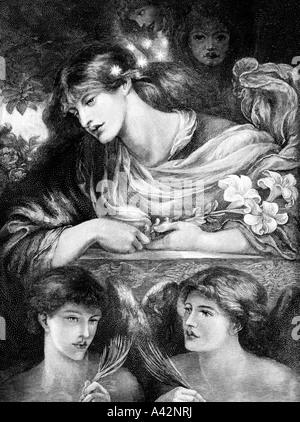 Gravur von Dante Gabriel Rossetti s The Blessed Damozel - Stockfoto