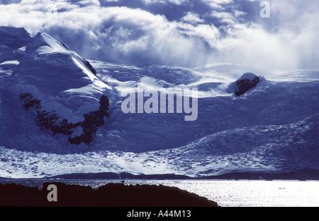 Gletscher auf Adelaide Insel mit Skua auf Felsen Marguerite Bay antarktische Halbinsel - Stockfoto