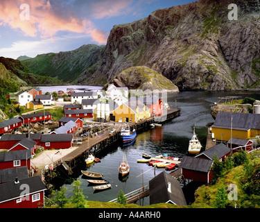 NO - LOFOTEN-Inseln: Hafen bei Nusfjord - Stockfoto