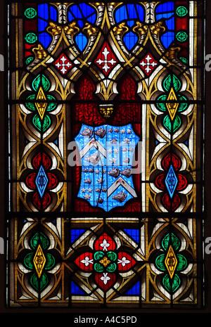 Detail aus einem Buntglas-Fenster im südlichen Seitenschiff der St. Johannis Kirche, Princes Street, Edinburgh, - Stockfoto