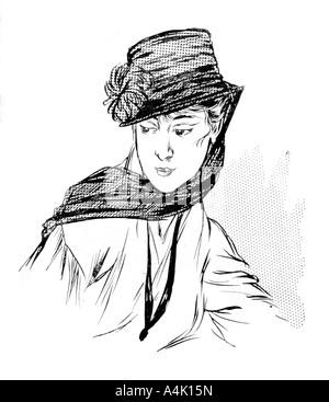 Schwarz crêpe Hut mit Seide Chrysantheme und Trauer veil, 1915. Artist: Unbekannt - Stockfoto