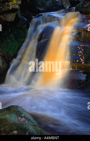 Wasserfall im Valley of Desolation, Wharfedale, Yorkshire Dales National Park - Stockfoto