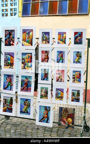 Künstler-Gemälde zum Verkauf in La Boca Viertel von Buenos Aires Argentinien - Stockfoto