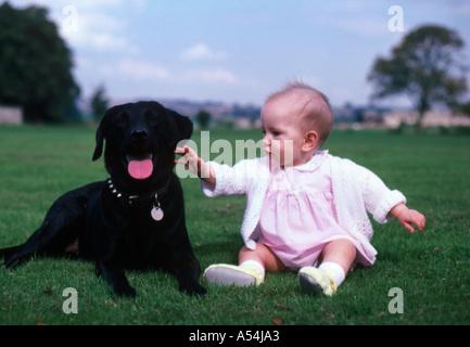 Babymädchen mit Familienhund - Stockfoto