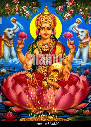 Lakshmi Hindu-Göttin des Reichtums Glück und Wohlstand - Stockfoto