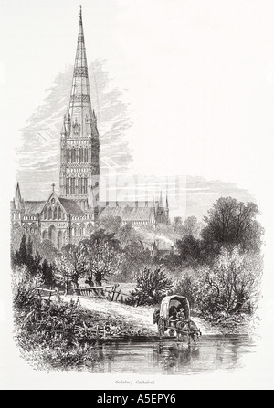 Salisbury Kathedrale Wiltshire höchsten Turmspitze Fluss Avon Pferd Warenkorb christlichen pastorale England Englisch UK United Kingdom GB große