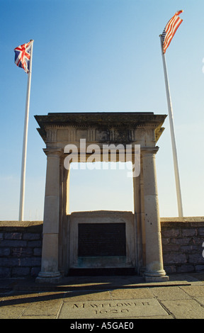 England Devon Plymouth Barbican Mayflower Schritte Memorial - Stockfoto
