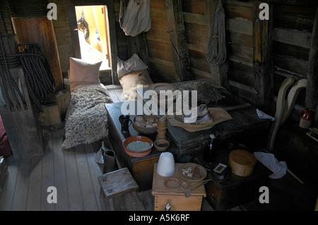 """Ein Zimmer auf der """"Mayflower II"""", Plymouth, Massachusetts - Stockfoto"""