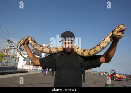 Mann mit Haustier Python auf der Promenade in Coney Island - Stockfoto