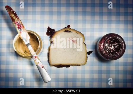 Erdnussbutter und Marmelade-sandwich - Stockfoto