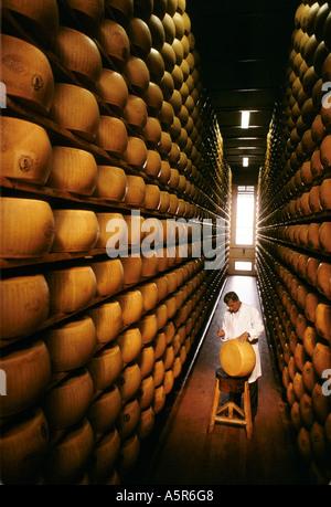 MANN PRÜFEN QUALITÄT WÄHREND DER LAGERUNG VON PARMESAN KÄSE EMILIA ROMAGNA ITALIEN 1988 - Stockfoto