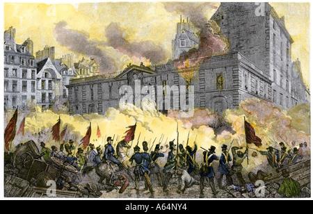 Die randalierer Angriff der Königliche Palast während der Französischen Revolution. Hand - farbige Gravur - Stockfoto