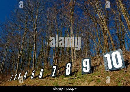 Eine Reihe von Zahlen im Wald, die Kennzeichnung der Zielpositionen vieler Schweizer Gewehr (Stand de Tir) - Stockfoto
