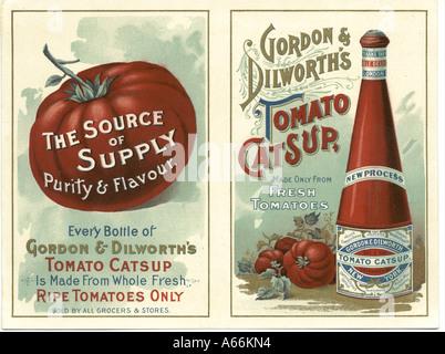 Werbung-Einsatz für Gordon & Dilworth Tomaten Ketchup um 1890 - Stockfoto