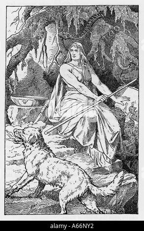 Hel, Tochter von Loki & Göttin der Unterwelt Stockfoto, Bild