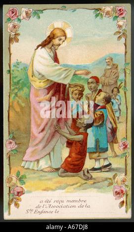 jesus segnet schwarze und asiatische kinder datum: ende des 19. jahrhunderts stockfoto, bild