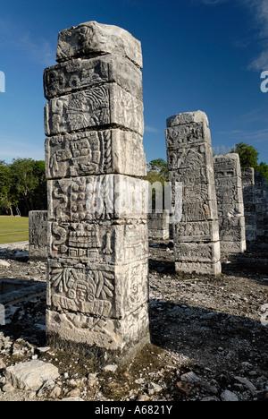 Templo de Los Guerreros, Tempel der Krieger, Maya und Toltek archäologische Stätte Chichen Itza, neue Worldwonder, - Stockfoto