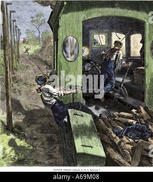 Flagman Warnung eine Eisenbahn Crew der Gefahr voraus auf den Gleisen. Hand - farbige Holzschnitt - Stockfoto