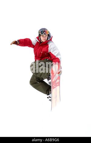 Snowboarder in der Luft - Stockfoto