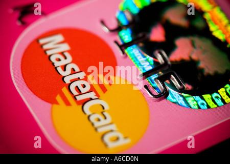 Hologramm auf Mastercard-Kreditkarte - Stockfoto
