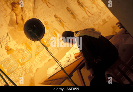malerei im grab des tutanchamun tal der k nige luxor theben alt gypten afrika stockfoto. Black Bedroom Furniture Sets. Home Design Ideas