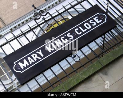 Melden Sie außen Mary King es Close auf der High Street, Edinburgh - Stockfoto