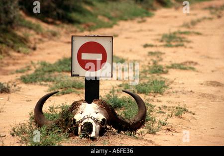 Kein Eintrag Zeichen auf einer einsamen Straße in Südafrika - Stockfoto