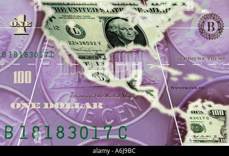 Konzept der amerikanischen Karte als eine Banknote - Stockfoto