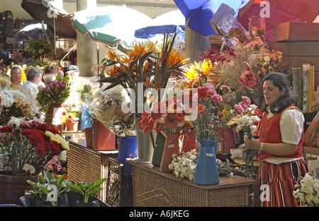 Portugal, Madeira, Funchal; Flowerseller Markt - Stockfoto