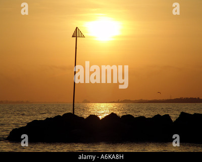 Lee On The Solent Sonnenuntergang - Stockfoto