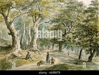 Bildende Kunst, Dorner, Johann Jakob, der jüngere (1775-1852), Forrest in der Nähe von Dietramszell, Aquarell, 21, - Stockfoto