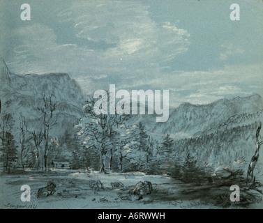 Bildende Kunst, Romantik, Malerei, Lengau, Chalkdrawing, 1830, 26 x 21 cm, Privatsammlung, Landschaft, Kunst, Oberösterreich, - Stockfoto