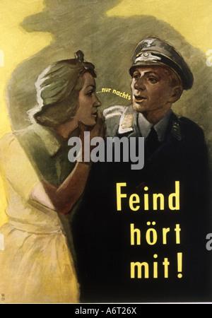 """Veranstaltungen, Zweiten Weltkrieg/WWII Propaganda, Plakat, """"Der Feind hört mit"""", ca. 1942, Additional-Rights-Spiel - Stockfoto"""