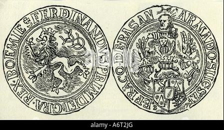 Geld, Münzen, Tschechischen Republik, böhmische Thaler von König Ferdinand I. (regierte 1527-1564), Gravieren, Münze, - Stockfoto