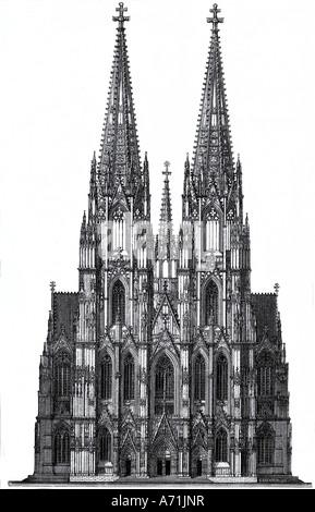 Geografie/Reisen, Deutschland, Köln, Kirchen, Kölner Dom, Vorderansicht mit Hauptportal, Gravur, von R. B. Brend'Amour, - Stockfoto