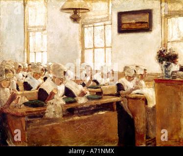 """""""Fine Arts, Liebermann, Max, (1847-1935), Malerei,""""Holländische Nähschule"""", (""""Dutch Sweing Schule""""), 1876, Öl auf - Stockfoto"""